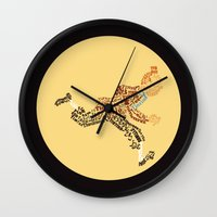 tintin Wall Clocks featuring Tintin in type by jammyjambob