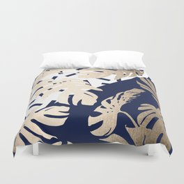 Simply Tropical Nautical Navy Memphis Palm Leaves Duvet Cover