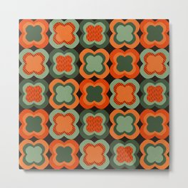 Retro Color Flower Pattern Metal Print