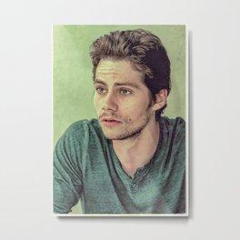 Dylan O'Brien in Green Metal Print