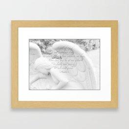 Guardian Angel Prayer | White Angel | Religious Art | Baptism | First Communion Framed Art Print