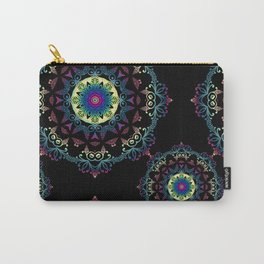 Abstract mandala-pattern on the black background Carry-All Pouch