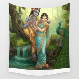 Radha Krishna playing the Flute Wall Tapestry