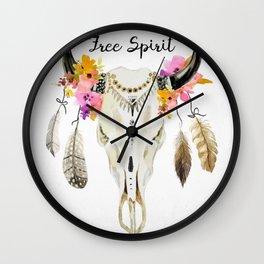 free spirit- tribal skull Wall Clock