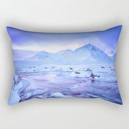 Freezing Mountain Lake Landscape : Blue Rectangular Pillow