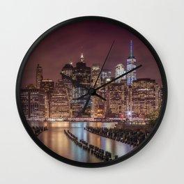 NEW YORK CITY Nightly Impressions | Panoramic Wall Clock