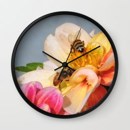 Honeybees at Work Wall Clock