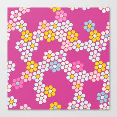 Flower tiles in hot pink Canvas Print
