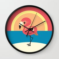 flamingo Wall Clocks featuring Flamingo by Steph Dillon
