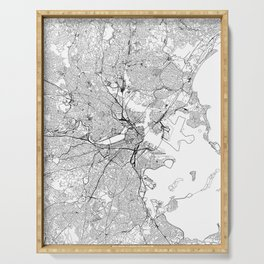 Boston White Map Serving Tray