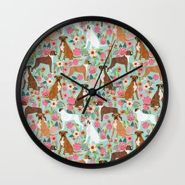 Boxer floral dog breed gifts for boxer lovers pet florals boxers must haves Wall Clock