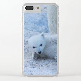 Polar bear family on snow close-up. Clear iPhone Case