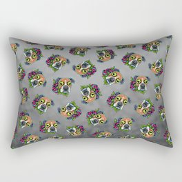 Boxer in White Fawn - Day of the Dead Sugar Skull Dog Rectangular Pillow