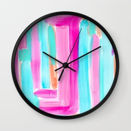 It's Your Life pastel color stripes modern art abstract painting lines pattern minimalist Wall Clock