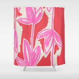 Red and Pink Sketchbook Botanical Shower Curtain