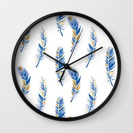 Watercolour Feathers - Navy and Gold Wall Clock