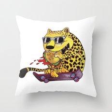 Skating Cheetah Throw Pillow