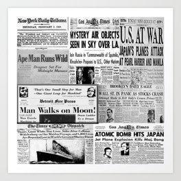 Vintage News Headlines Art Print