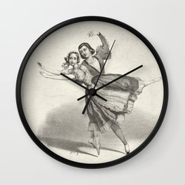 The Dancers, young man and woman, graphite, black white Wall Clock