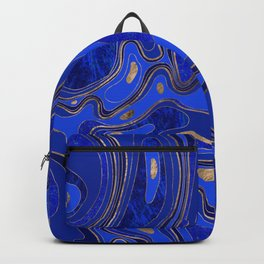 Marble Map - blue and gold Backpack