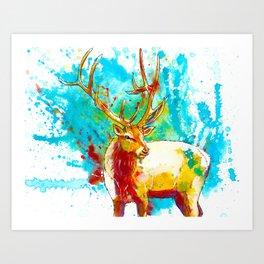 The Forest Wanderer - Elk painting Art Print