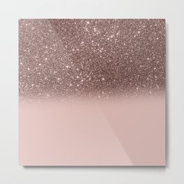 Rose Gold Glitter Ombre Metal Print