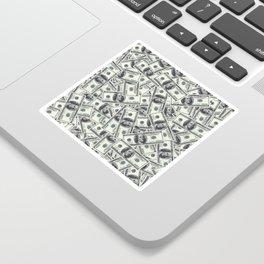 Giant money background 100 dollar bills / 3D render of thousands of 100 dollar bills Sticker