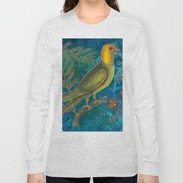 Carolina Parakeet with Cypress, Antique Natural History and Botanical Long Sleeve T-shirt