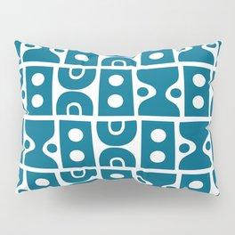 Funky Mid Century Modern Pattern Peacock Blue Pillow Sham
