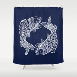 Navy Blue Koi Minimal Shower Curtain