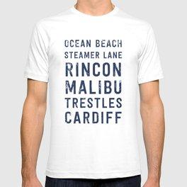 California Surf Spots 1 T-shirt