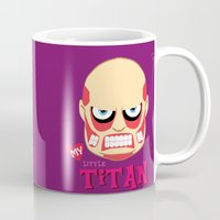 attack on titan Mugs featuring My Little Titan by TheBeardedPen