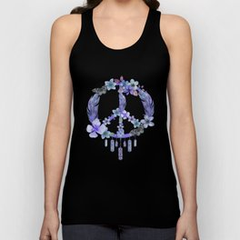 Purple Watercolor Peace Symbol Floral Dreamcatcher Unisex Tank Top