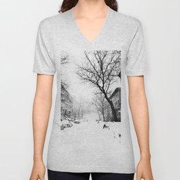 New York City At Snow Time Black and White Unisex V-Neck