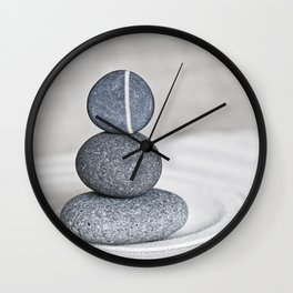 Zen cairn pebble stone balance grey Wall Clock