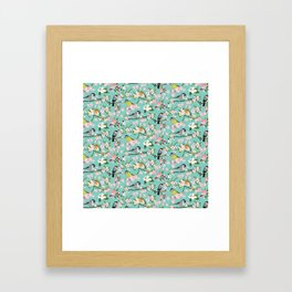 Blossom and Birds Turquoise Print Framed Art Print