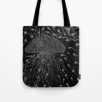 jelly fish Tote Bags featuring Jelly Fish by OKAINA IMAGE