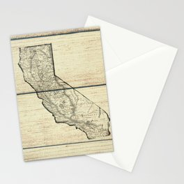 Vintage Map of California Stationery Cards