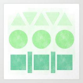 Green Shapes Art Print