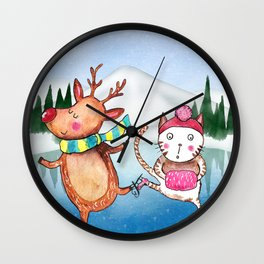 Cat and Reindeer go ice skating Wall Clock