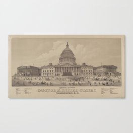 Vintage US Capitol Building Illustration (1882) Canvas Print