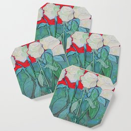 White Roses on Red Coaster