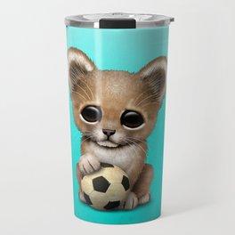Lion Cub With Football Soccer Ball Travel Mug