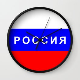 russia country flag cyrillic name text Wall Clock