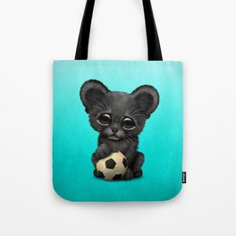 Black Panther Cub With Football Soccer Ball Tote Bag