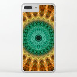 Mandala with green, brown and golden ornaments Clear iPhone Case