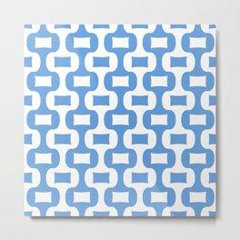 Mid Century Modern Ogee Pattern 302 Blue Metal Print
