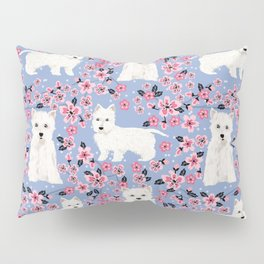 Westie cherry blossoms west highland terrier cutest fluffy white dog breed pattern art Pillow Sham
