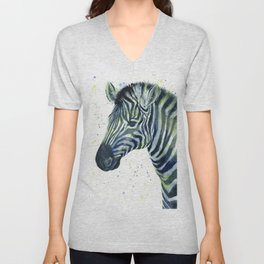 Zebra Watercolor Blue Green Animal Unisex V-Neck