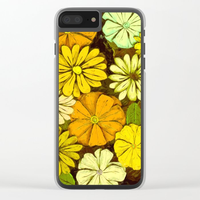 Abstract #417 Flower Power #5 Mellow Yellow Clear iPhone Case
